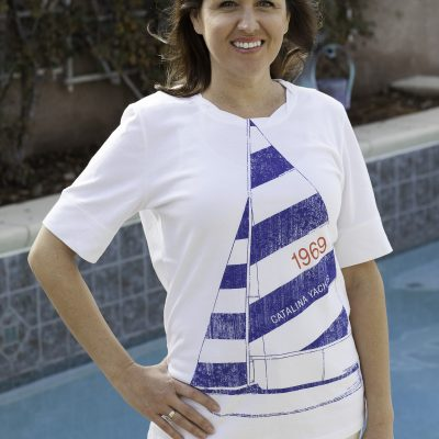 Artisan Ladies' 1/2 Sleeve Sailboat Tee - Clearance-0